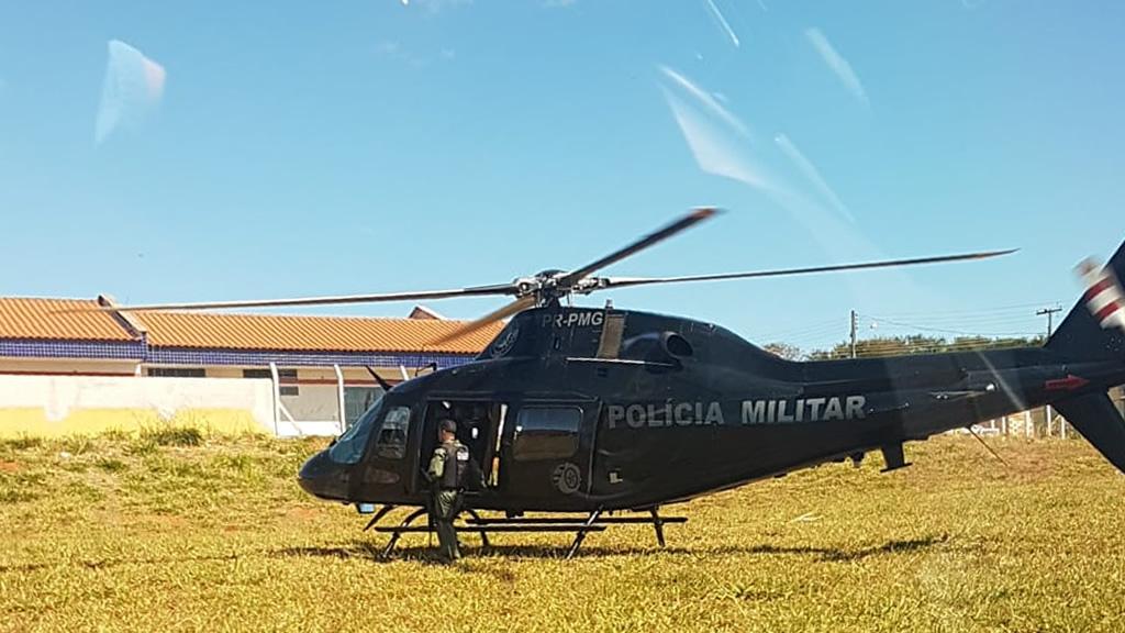 Helicóptero do Graer foi utilizado na operação (Fonte: Divulgação Polícia Militar)